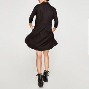 6eed480f Zara Dresses | Black Ruffle Shirt Dress | Poshmark